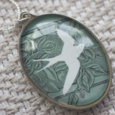 White Swallow Handmade Glass Pendant Necklace