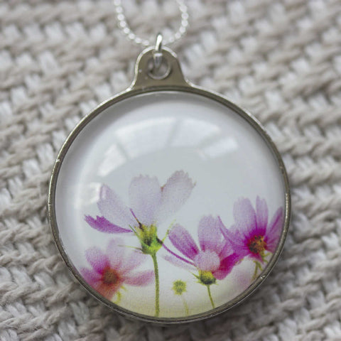 Pink Floral Handmade Glass Pendant Necklace