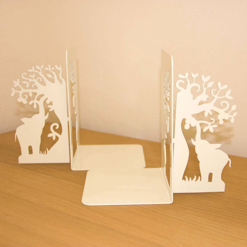 African Baobab Tree Elephant White Metal Bookend Set