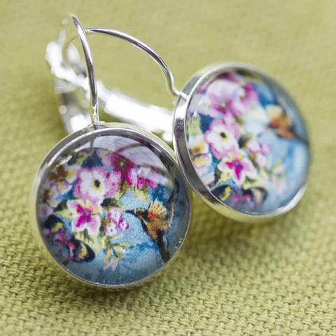 Hummingbird Floral Handmade Glass Earrings
