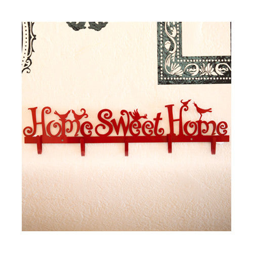 Home Sweet Home Large Metal Wall Hook Red White Decorative Utility Homeware