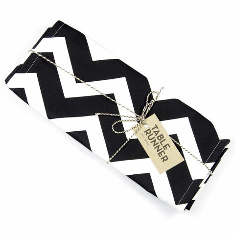 Black Chevron Handmade Cotton Table Runner