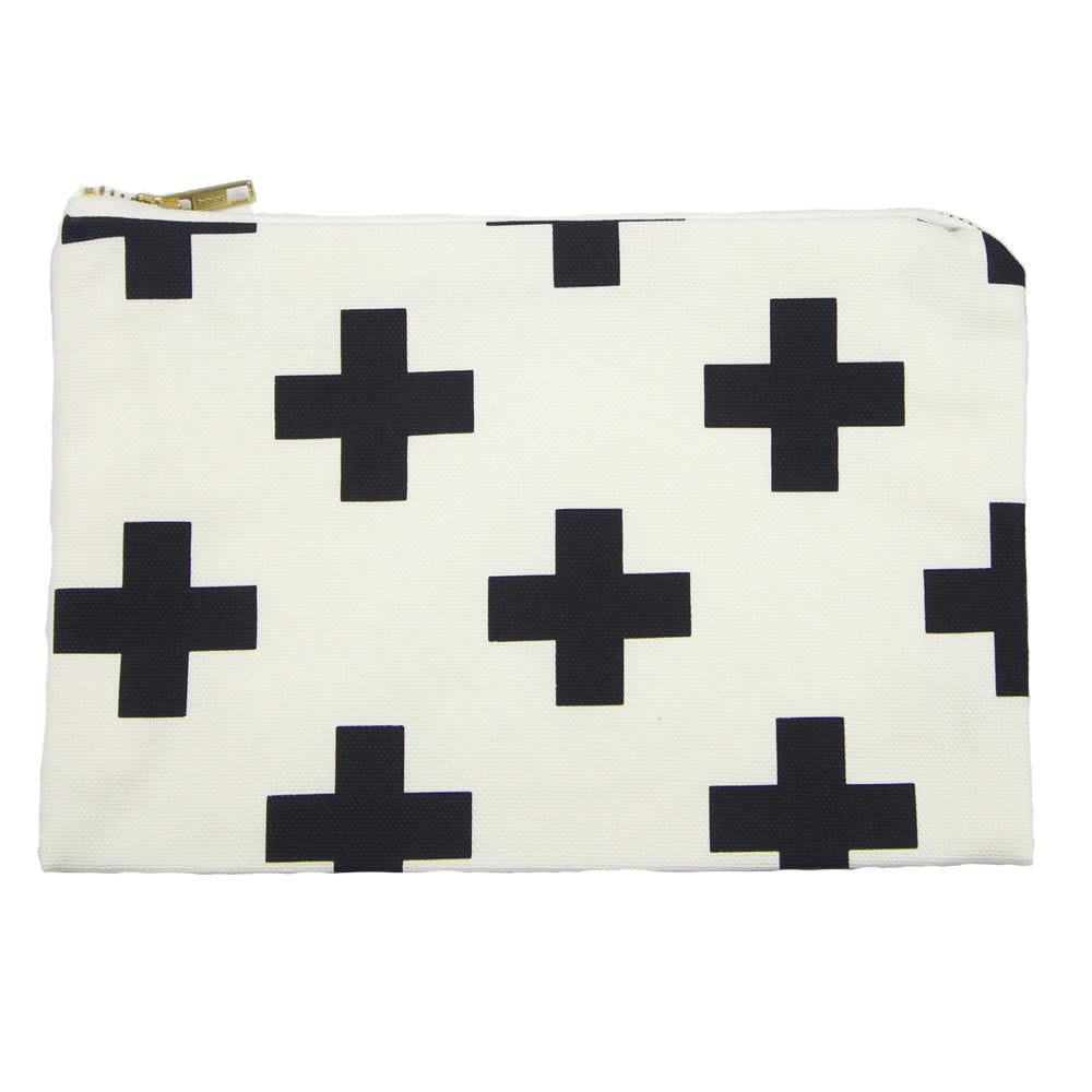 white handmade black swiss cross small clutch pouch bag