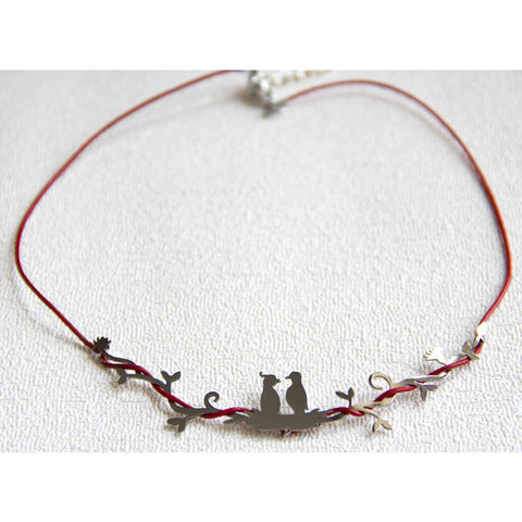 Bird Nest Entwined Silver Choker Necklace