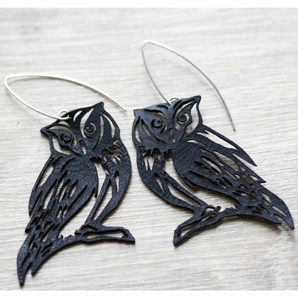 Black owls leather drop handmade earrings