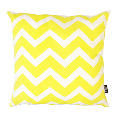 Yellow Chevron Handmade Cotton Cushion Cover