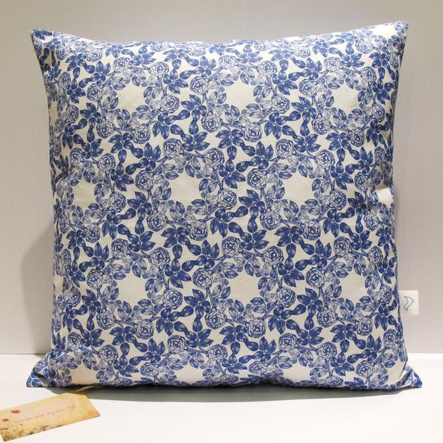 Indigo blue floral handmade eco friendly cushion cover