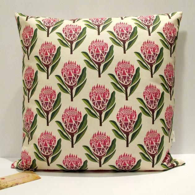 Pretty proteas floral hand made cushion cover eco-friendly