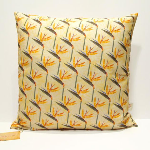 Yellow Strelitzia Flower Handmade Cushion Cover