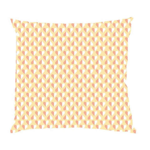Yellow Hearts Handmade Cotton Cushion Cover