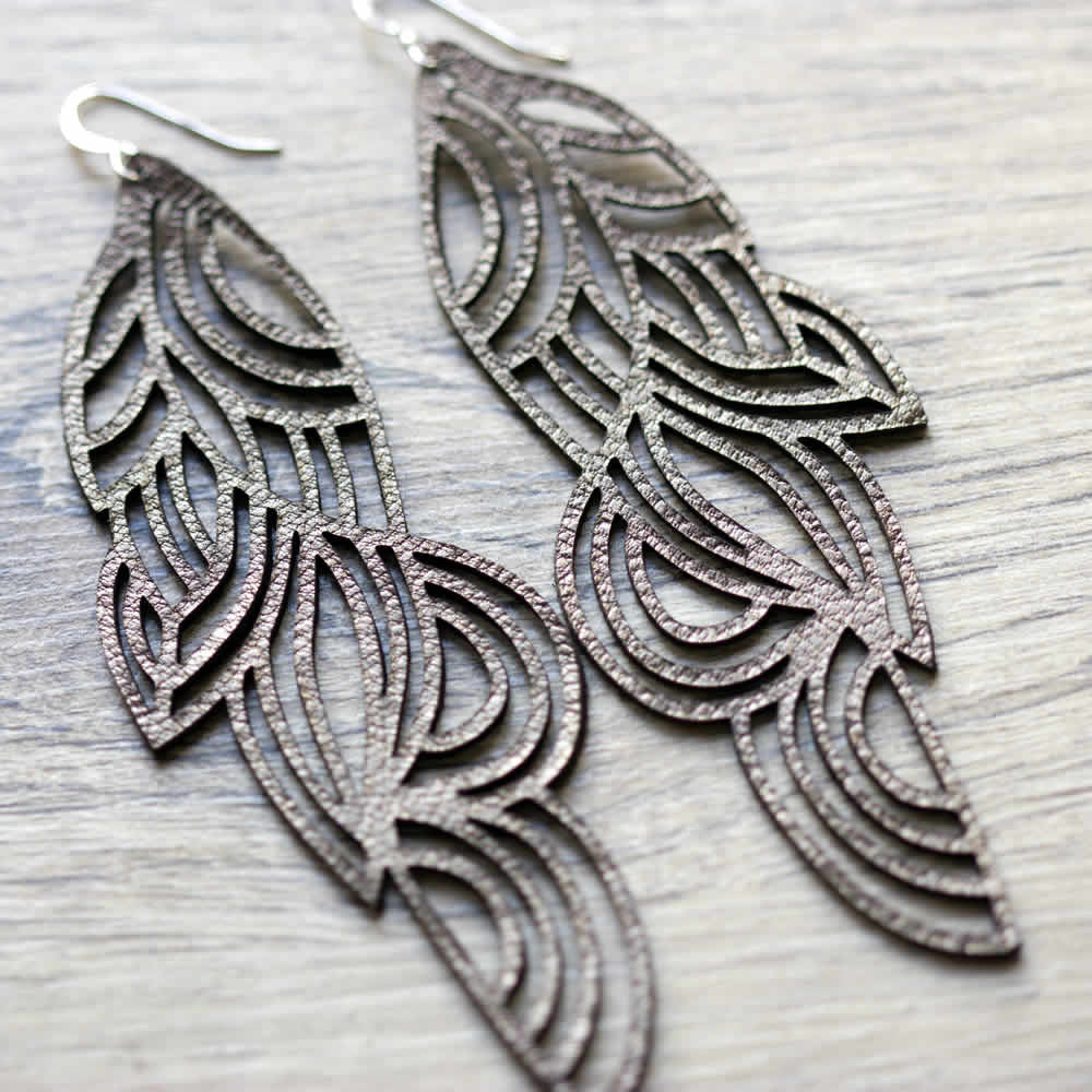 Leather leaf design gold handmade drop earrings