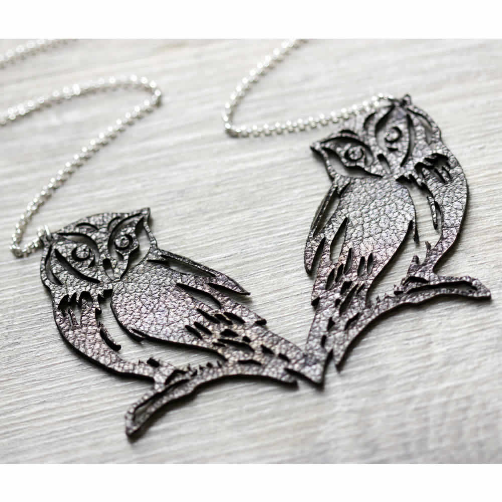 Leather Owl Gold Handmade Necklace