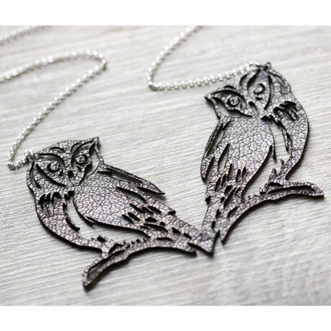 Leather Golden Owls Handmade Necklace