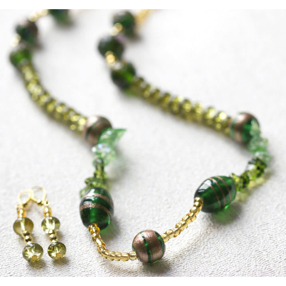 green and gold glass beads handmade jewellery set