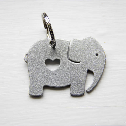 Red / Silver Heart Elephant Metal Keyring