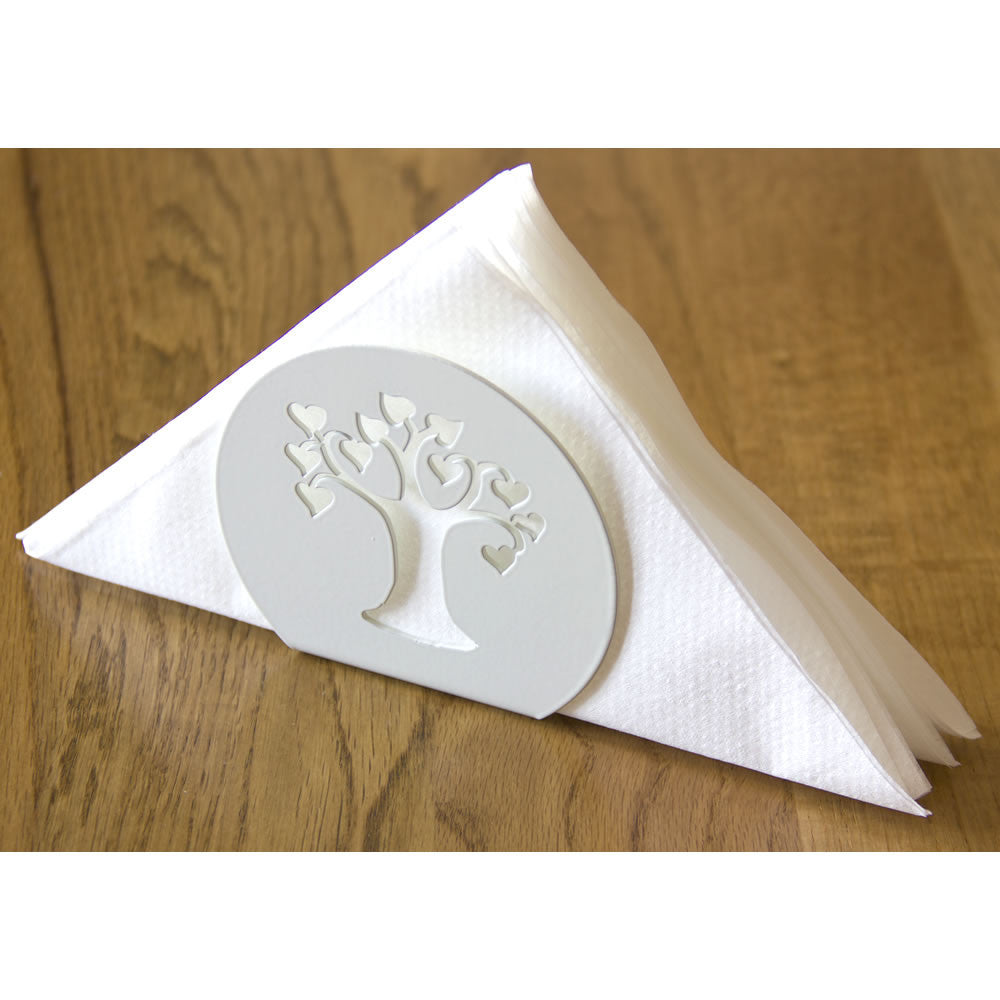 Love Tree white metal serviette napkins holder