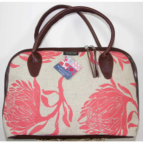 Handmade Coral Pink King Protea Floral Ladies Bag