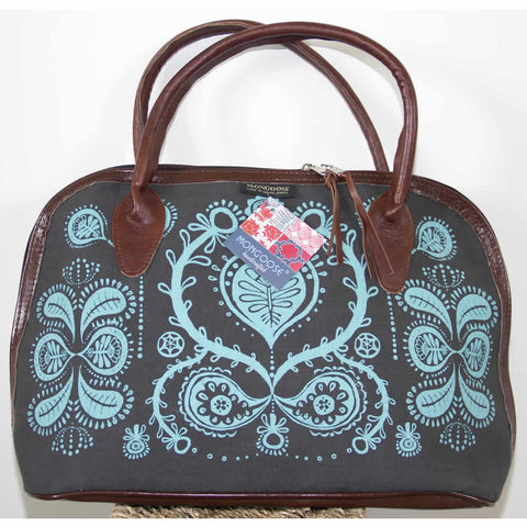 Handmade Turquoise Blue Seed Panel Ladies Bag