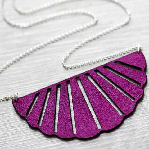 Leather Scalloped Magenta Purple Handmade Necklace