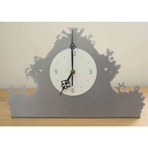 Birds Flowers Red Silver Mantlepiece Clock