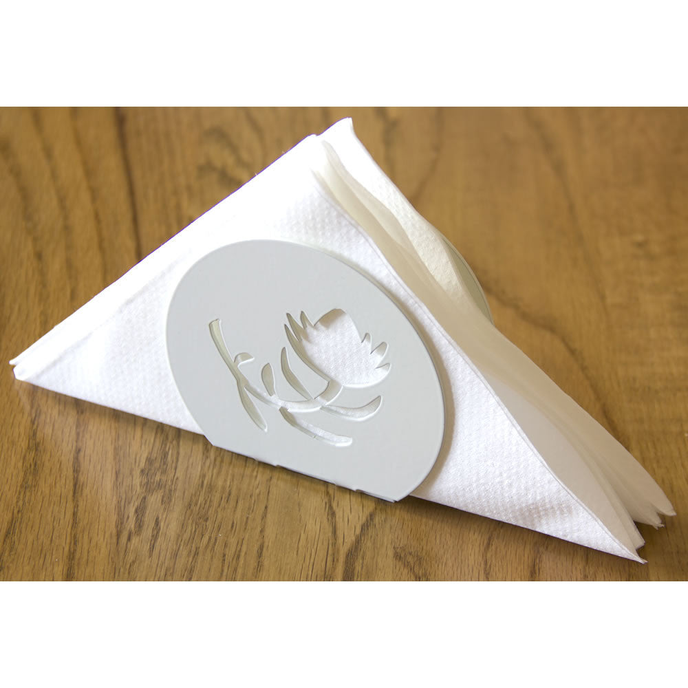Protea flower white metal serviette napkins holder