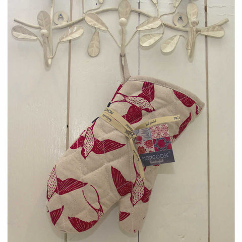 Handmade Red Swallow Oven Mitt