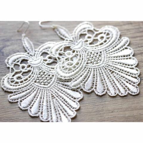 Vintage Style White Lace Handmade Drop Earrings