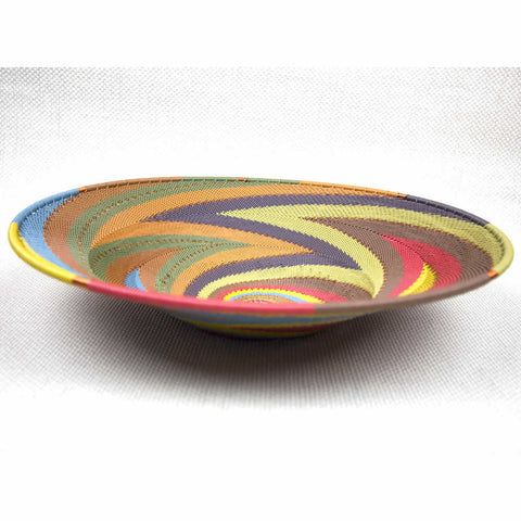 African Rainbow Large Shallow Handmade Bowl