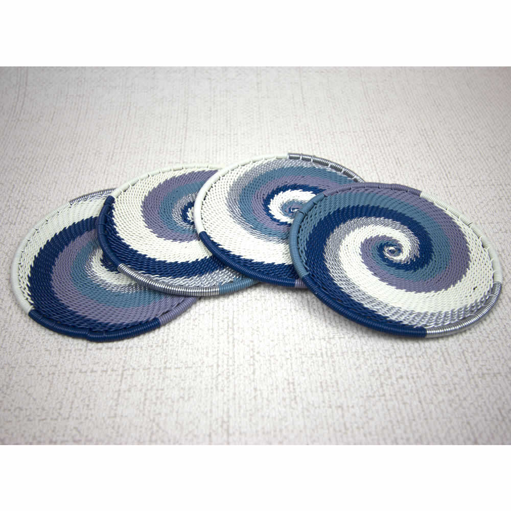 African Winter blue white handmade wire coaster set