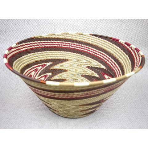 African Desert Brown Large Handmade Cone Wire Bowl