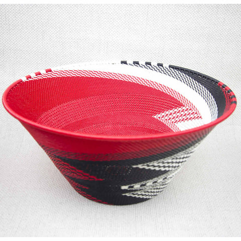 African Red Large Handmade Cone Wire Bowl