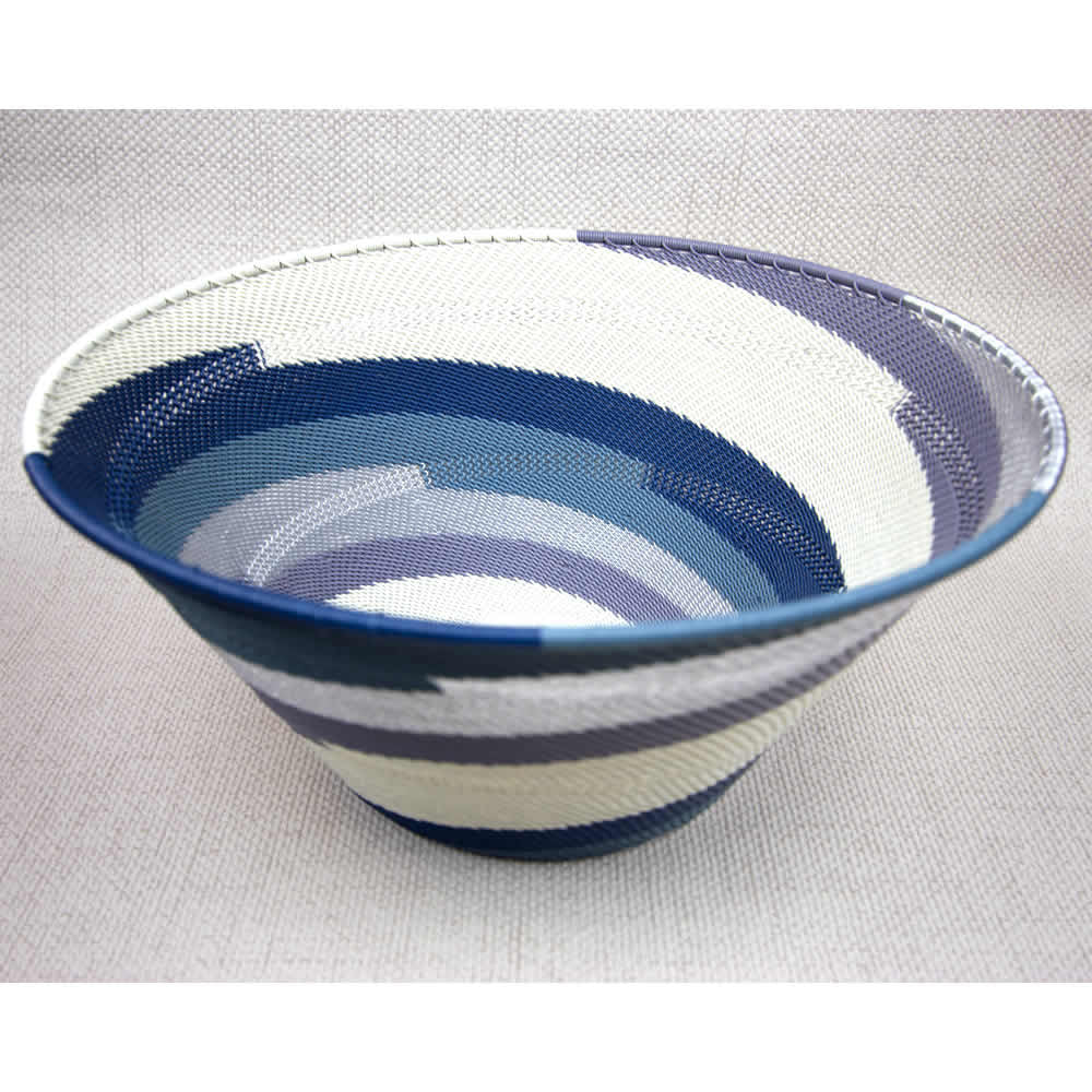 African Winter large handmade cone wire bowl - blue white