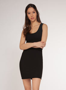 RIBBED BASIC DRESS - BLACK