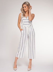 STRETCH JUMPER W/ BELT - WHITE & NAVY STRIPE