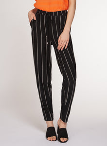 DRAWCORD PANT - BLACK & WHITE PIXEL STRIPE