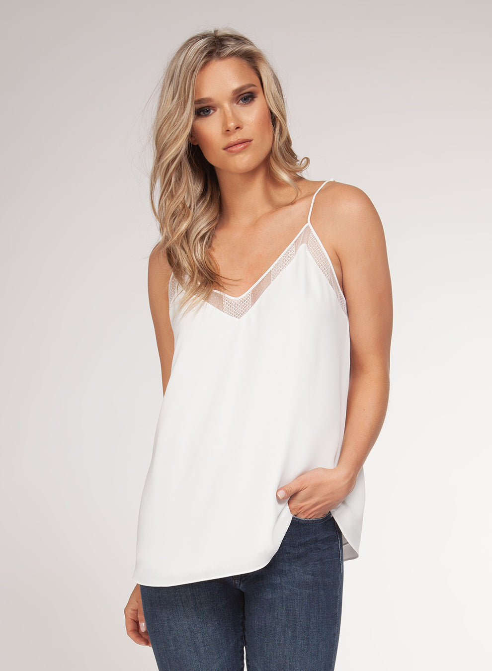 V-NECK MESH TRIM TANK TOP - WHITE