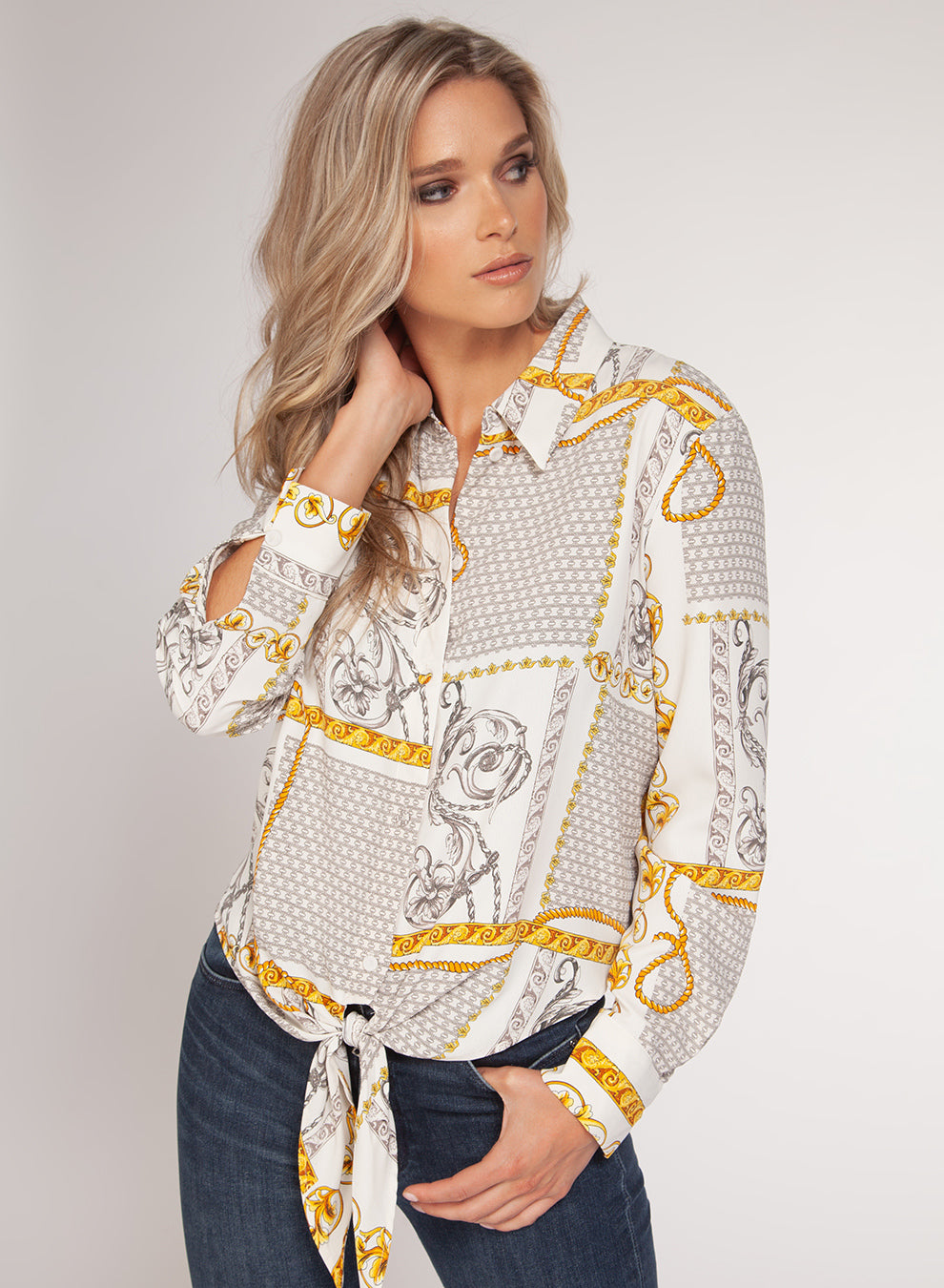 LONG-SLEEVED BLOUSE W/ FRONT TIE - GREY / WHITE / MUSTARD