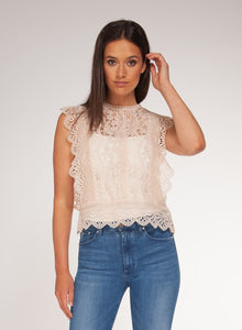 SLEEVELESS LACE TOP - SOFT PINK