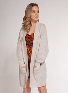 LONG-SLEEVED CARDIGAN W/ POCKETS- LIGHT SAND