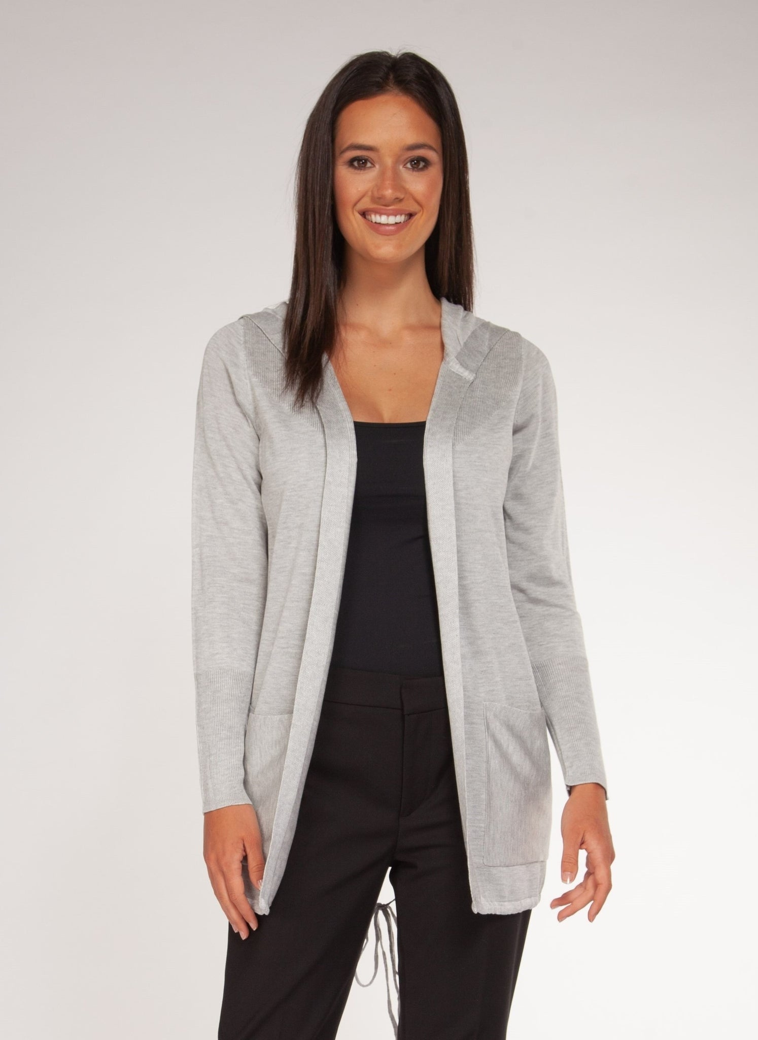 LONG-SLEEVED CARDIGAN W/ FRONT POCKETS - GREY MIX