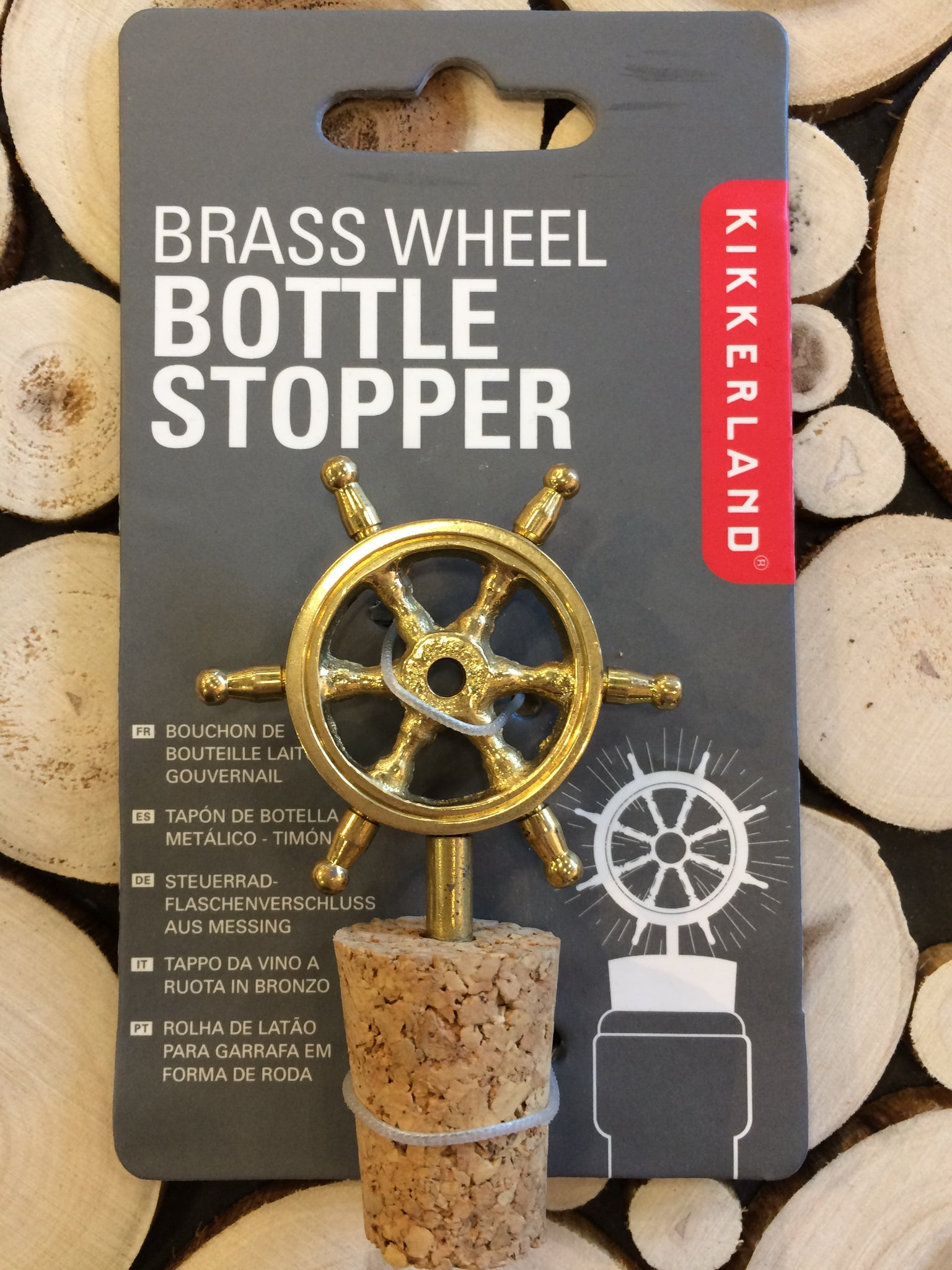 BRASS SHIP'S WHEEL - BOTTLE STOPPER