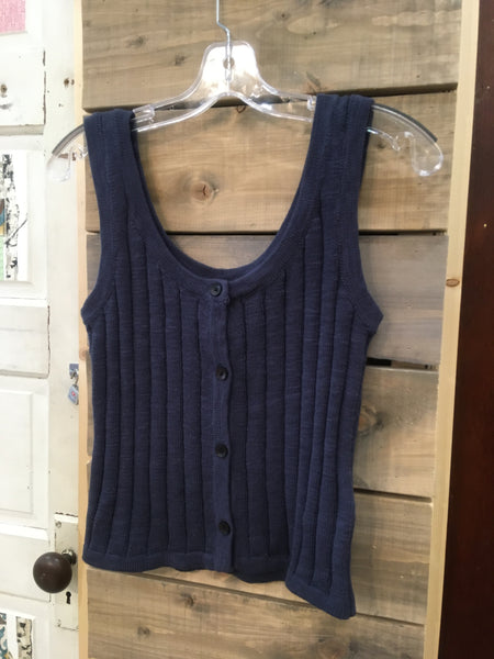 BE SENSATIONAL BUTTONED KNIT TANK TOP - INDIGO BLUE