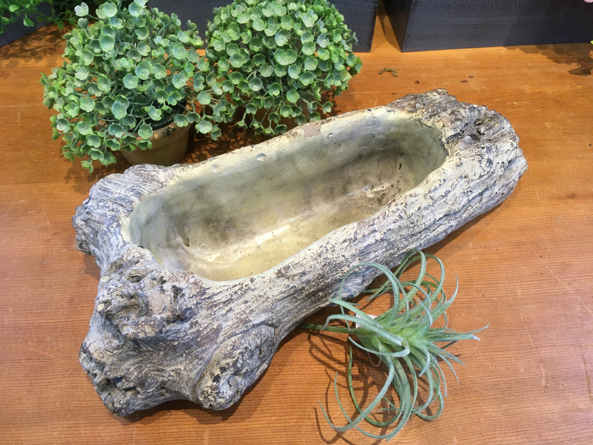 CEMENT LOG LOOK PLANTER - 12 INCH