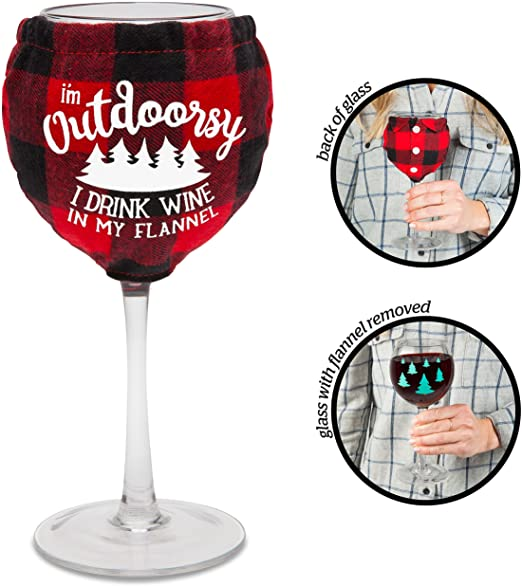 OUTDOORSY - WINE GLASS WITH FLANNEL
