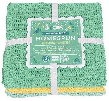 HANDMADE HOMESPUN DISHCLOTH SET - SPRING MEADOW