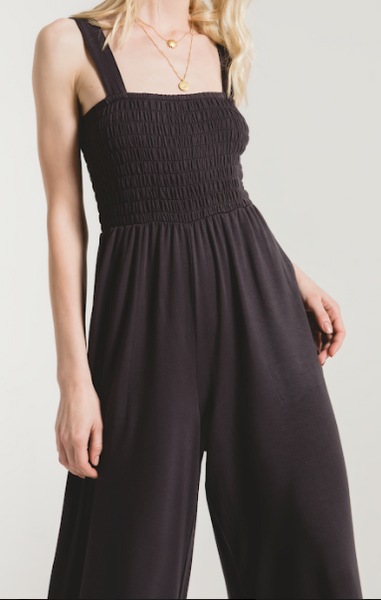 THE SMOCKED KNIT JUMPER - WASHED BLACK