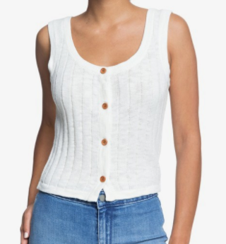 BE SENSATIONAL BUTTONED KNIT TANK TOP- SNOW WHITE