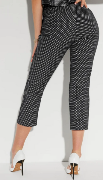ZOE CAPRI PANTS - DARK NAVY &  WHITE POLKA DOTS