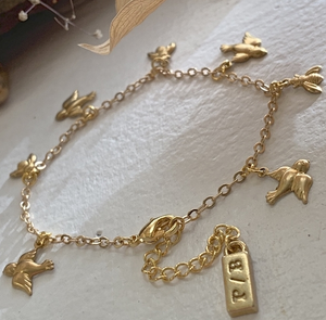 BIRDS & BEES CHARM BRACELET - GOLD PLATED BRASS