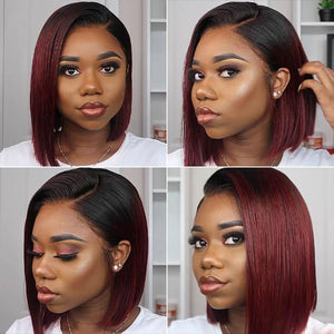 Perruque Lace Bob Wig Lisses (Straight) #1B/99J Burgundy